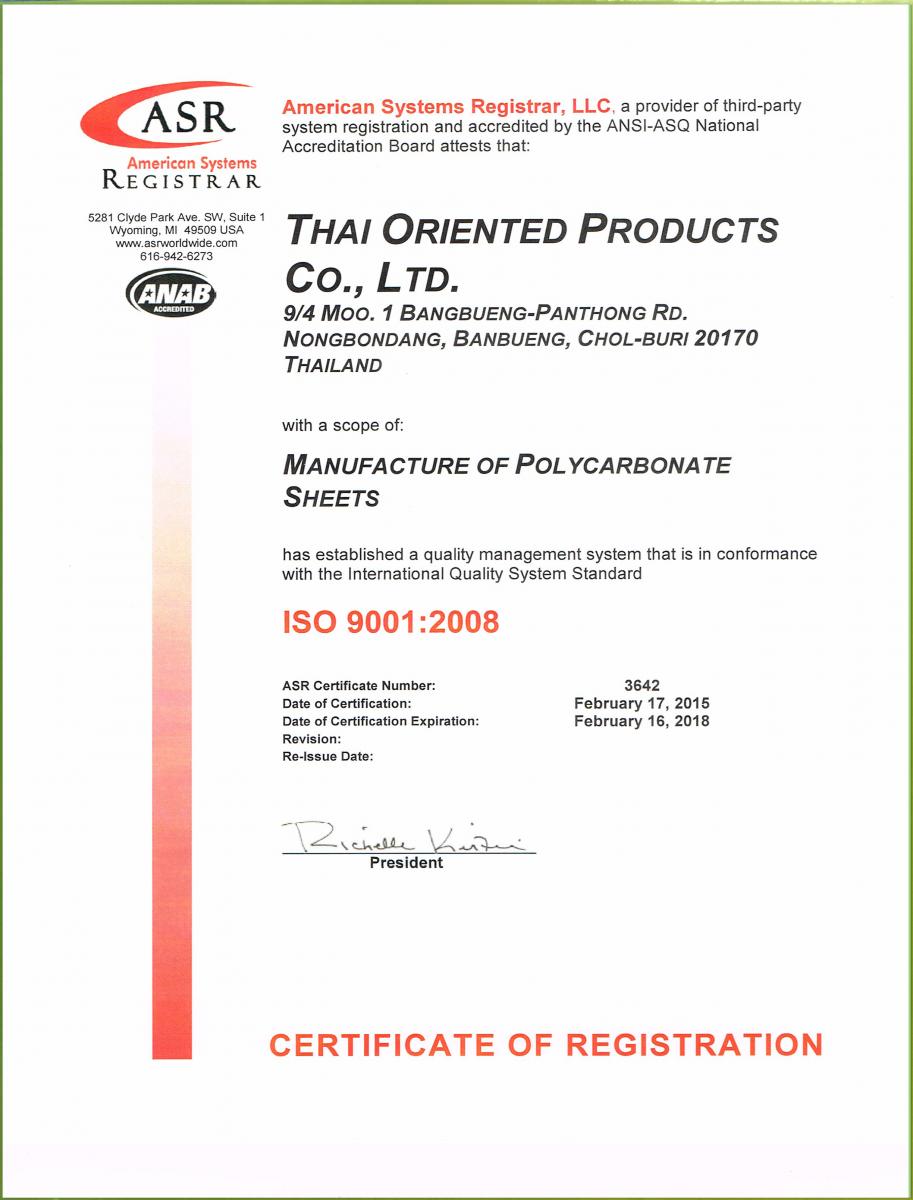 chứng chỉ ISO 9001 2008 polytop